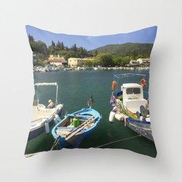 Fishing boats at Ipsos Throw Pillow