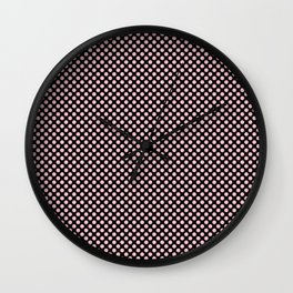 Black and Rose Shadow Polka Dots Wall Clock
