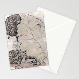 inked leaf print Stationery Cards