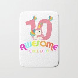 Awesome Since 2008 Unicorn 10th Birthday Anniversaries Bath Mat
