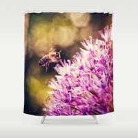 bee Shower Curtains featuring Bee by Rachel's Pet Portraits