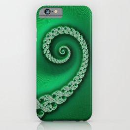 Christmas Green Golden Spiral - Fractal Art iPhone Case