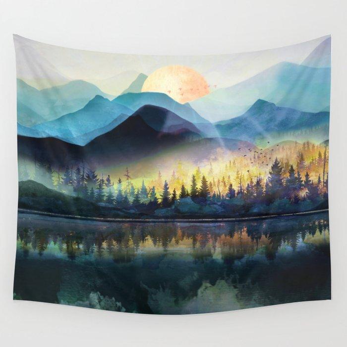 Mountain Lake Under Sunrise Wandbehang