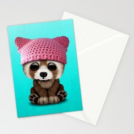 Cute Baby Red Panda Wearing Pussy Hat Stationery Cards