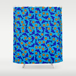 Cute Dolphins on Blue Shower Curtain