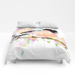 cute bird art, Bullfinch and Spring Comforters