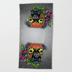 Boxer in Fawn - Day of the Dead Sugar Skull Dog Beach Towel