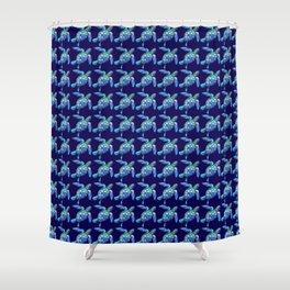 Sea Turtle Pattern Blue Shower Curtain