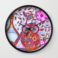 discount Wall Clocks featuring If Klimt Painted An Owl :) Owls are darling birds! by Love2Snap