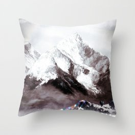 Panoramic View Of Everest Mountain Painting Throw Pillow