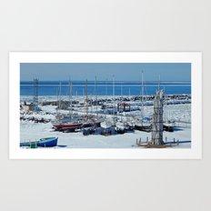 Sailboats in Winter Art Print