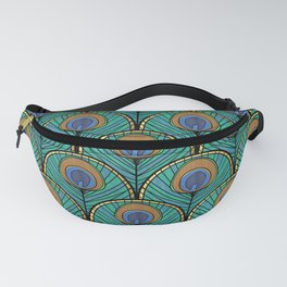 Glitzy Peacock Feathers Fanny Pack