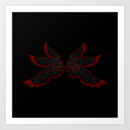 Archangel Lucifer with Wings Black Art Print