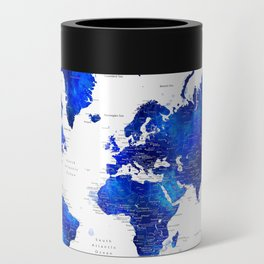 """Navy blue and cobalt blue watercolor world map with cities labelled, """"Carlynn"""" Can Cooler"""