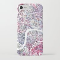 london map iPhone & iPod Cases featuring London map by MapMapMaps.Watercolors