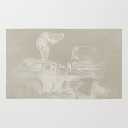 cars in secret forest Rug
