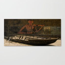 India Street Art and Aging Boat Canvas Print