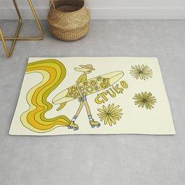 groovy rollerskate cruise w single fin // retro surf art by surfy birdy Rug