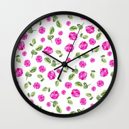 Neon Pink Watercolor Roses // Hand Painted // Neon Floral Wall Clock