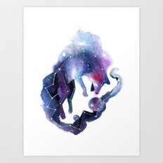 Galaxy Fox Art Print