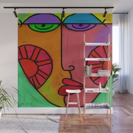 Colorful Abstract Digital Painting of a Face Wall Mural
