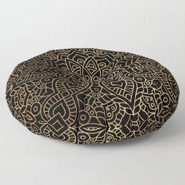 Black Gold Mandala Floor Pillow