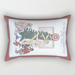 Team Cap Naughty Pinup Holiday Card Rectangular Pillow