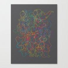 50 cartoon silhouettes Canvas Print