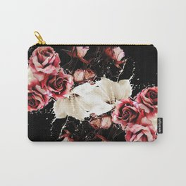 Black and pink splashed roses Carry-All Pouch