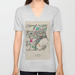 Colorful City Maps: Durban, South Africa Unisex V-Neck