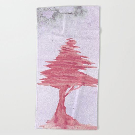 Red Tree watercolor on old paper Beach Towel