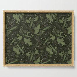 Green Herbs Spices / Olive Green Palette Serving Tray