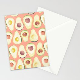 Watercolor avocado in pink Stationery Cards