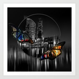 city butterflies Art Print
