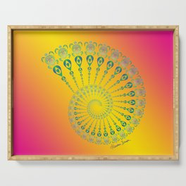 Spiral Tribal Turtle Shell Tropical Serving Tray