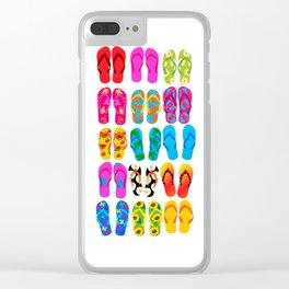 Sandals Colorful Fun Beach Theme Summer Clear iPhone Case