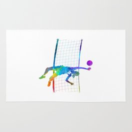 Woman volleyball player in watercolor Rug