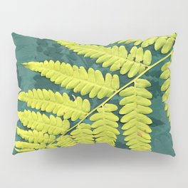 From the forest - lime green on teal Pillow Sham