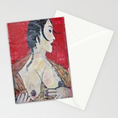 PORTRAIT OF A LADY EXPOSING HER TITS Stationery Cards
