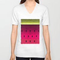 watermelon V-neck T-shirts featuring Watermelon by Kakel