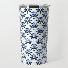 Ajrak Woodblock Floral Print in Blue Travel Mug