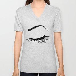 Closed Eyelashes Left Eye Unisex V-Neck