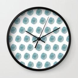 happy blue watercolor flowers Wall Clock