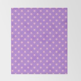 Cotton Candy Pink on Lavender Violet Stars Throw Blanket