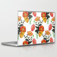 pandas Laptop & iPad Skins featuring Poppies & Pandas by micklyn