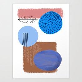 Modern Beach Art - Pink and blue feather Art Print