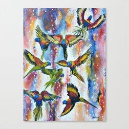 Grace - Lorikeets Birds Painting Canvas Print