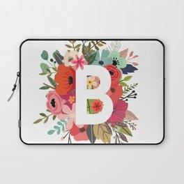 B – Monogrammed Floral Initial Laptop Sleeve