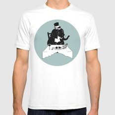 Exceptional Eggplant White SMALL Mens Fitted Tee