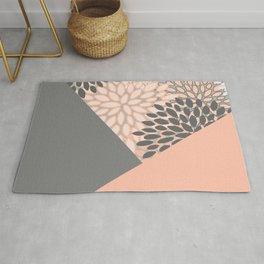 Geometric Art, Floral Prints, Coral and Gray, Color Block Art Rug